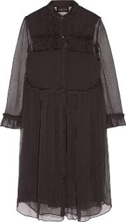 Needle & Thread , Ruffle Trimmed Georgette Shirt Dress Black