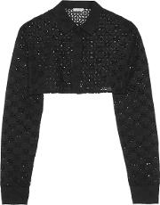 Nina Ricci , Cropped Broderie Anglaise Cotton Jacket Black