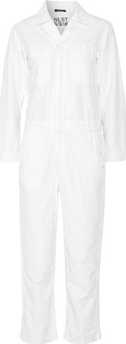 Nlst , Cotton And Hemp Blend Jumpsuit White