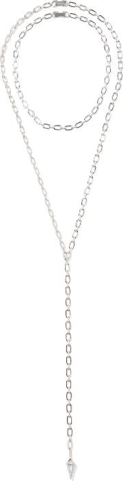Noir Jewelry , Walzin Set Of Two Silver Tone Crystal Necklaces One Size