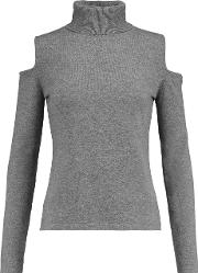 Npeal Cashmere , N.peal Cashmere Cutout Cashmere Turtleneck Sweater Gray