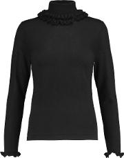 Npeal Cashmere , N.peal Cashmere Ruffle Trimmed Cashmere And Silk Blend Turtleneck Sweater Black
