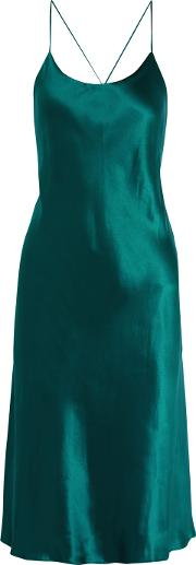 Olivia Von Halle , Remy Silk Satin Nightdress Emerald