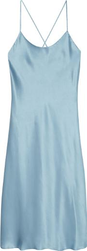 Olivia Von Halle , Remy Silk Satin Nightdress Sky Blue