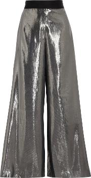 Opening Ceremony , Alice Silk Blend Lame Wide Leg Pants Silver