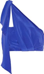 Paper London , Cropped Washed Silk Crepe Top Bright Blue