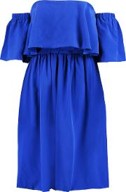 Paper London , Kaita Off The Shoulder Washed Silk Dress Bright Blue
