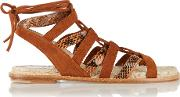 Paul Andrew , Lace Up Elaphe And Suede Sandals Brown