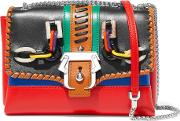 Paula Cademartori , Carine Embellished Leather Shoulder Bag Red