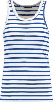 Petit Bateau , Striped Perforated Cotton Jersey Tank Blue