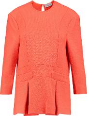 Preen By Thornton Bregazzi , Audrey Stretch Ponte Peplum Top Bright Orange