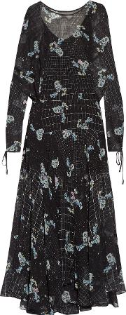 Preen By Thornton Bregazzi , Sharon Printed Chiffon Midi Dress Black