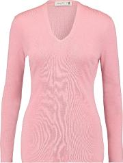 Pringle Of Scotland , Tulle Trimmed Merino Wool Blend Sweater Baby Pink