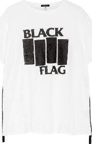 R13 , Black Flag Printed Cotton And Cashmere Blend Jersey T Shirt White
