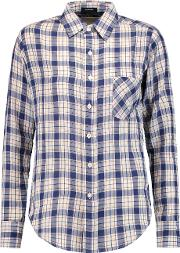 R13 , Check Cotton And Wool Blend Shirt Blue