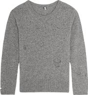 R13 , Distressed Cashmere Sweater Gray