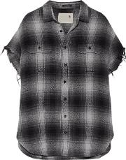 R13 , Oversized Frayed Checked Cotton And Silk Blend Shirt Gray