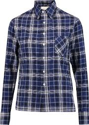 R13 , Pin Embellished Checked Cotton Blend Shirt Blue