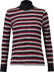 Redone , Redone Striped Cotton Jersey Turtleneck Top Red