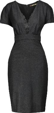 Roberto Cavalli , Lace Trimmed Wool Blend Dress Charcoal
