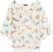 Roberto Cavalli , Printed Cotton And Silk Blend Voile Top Ivory