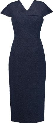 Roland Mouret , Dunmore Paneled Jacquard And Crepe Dress Navy
