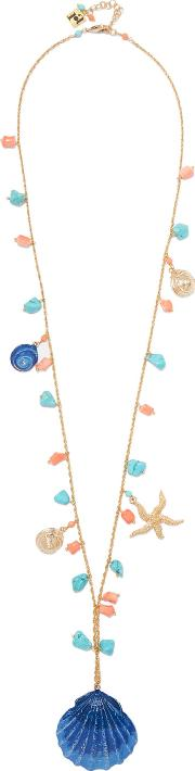 Rosantica , Gold Tone Charm And Stone Necklace Blue