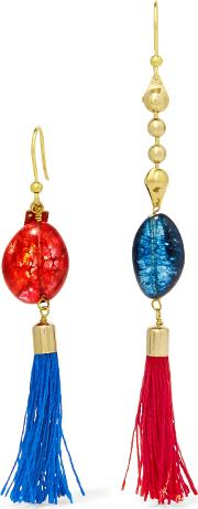 Rosantica , Gold Tone Stone And Tassel Earrings Red
