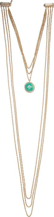 Rosantica , Layered Gold Tone Bead Necklace One Size