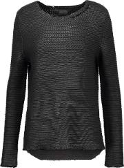 Rta , Jules Distressed Coated Cotton Sweater Black