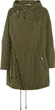 Saint Laurent , Embellished Cotton Twill Parka Army Green
