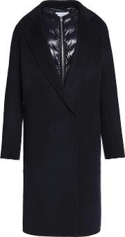 Sandro , Convertible Wool Blend And Shell Coat Midnight Blue