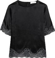Sandro , Lace Trimmed Silk Satin Top Black