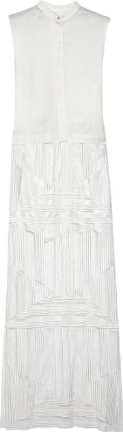 Sass & Bide , Pique And Embroidered Tulle Maxi Dress Ivory