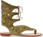 Schutz , Leather Trimmed Studded Suede Sandals Army Green
