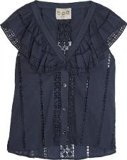 Sea , Ruffled Guipure Lace Paneled Cotton Top Storm Blue