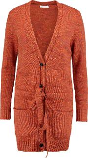 See By Chloe , Melange Chunky Knit Wool Blend Cardigan Orange