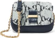See By Chloe , Mini Snake Effect And Textured Leather Shoulder Bag Midnight Blue