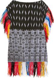 Sensi Studio , Macana Fringed Woven Cotton Mini Dress Black