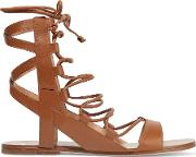 Sigerson Morrison , Bunny Lace Up Leather Sandals Tan