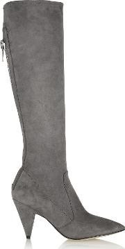 Sigerson Morrison , Flore Stretch Suede Knee Boots Gray
