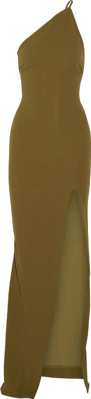 Solace London , Petch One Shoulder Crepe Maxi Dress Army Green