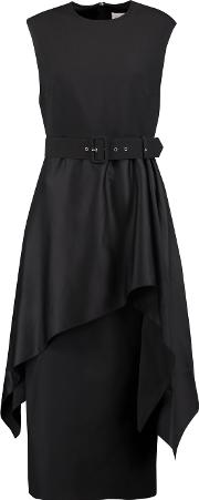 Solace London , Poppy Belted Draped Crepe And Satin Midi Dress Black