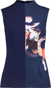 Solace London , Raelynn Printed Crepe Top Navy
