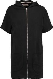 Solid And Striped , Cloque Cotton Blend Hooded Mini Dress Black