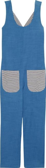 Solid And Striped , Cotton Chambray Jumpsuit Blue