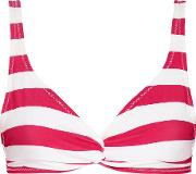 Solid And Striped , Jane Knotted Striped Bikini Top Bright Pink