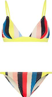 Solid And Striped , The Morgan Striped Triangle Bikini Yellow