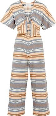 Solid And Striped , The Tie Cutout Striped Basketweave Cotton Jumpsuit Multi