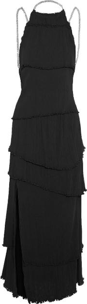 Sonia Rykiel , Chain Trimmed Tiered Cotton And Silk Blend Maxi Dress Black